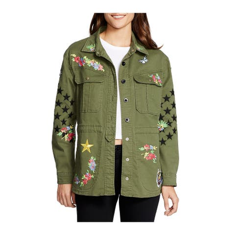 William Rast Womens Jacket Olive Green Small S Embroidered Button Front