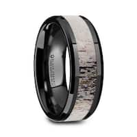 TRES Beveled Black Ceramic Polished Men's Wedding Band with Ombre Antler Inlay - 8mm