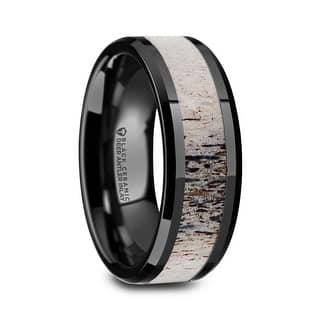 Tres Beveled Black Ceramic Polished Men S Wedding Band With Ombre Antler Inlay 8mm