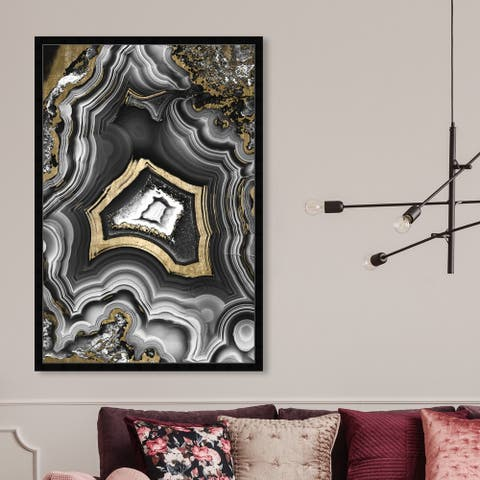 Oliver Gal 'AdoreGeo' Abstract Framed Wall Art Prints Crystals - Black, Gray