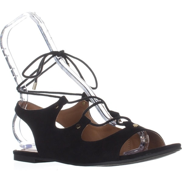 Indigo Rd. Gadiva Lace Up Flat Sandals, Black - 8.5 us