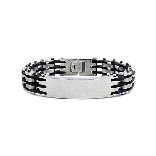 Stainless Steel Men's Rubber Link ID Bracelet - 8.5 Inches