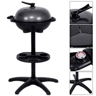 Costway Electric BBQ Grill 1350W Non-stick 4 Temperature Setting Outdoor Garden Camping - as pic