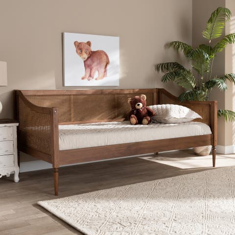 Ogden Mid-Century Modern Synthetic Rattan Daybed-Twin