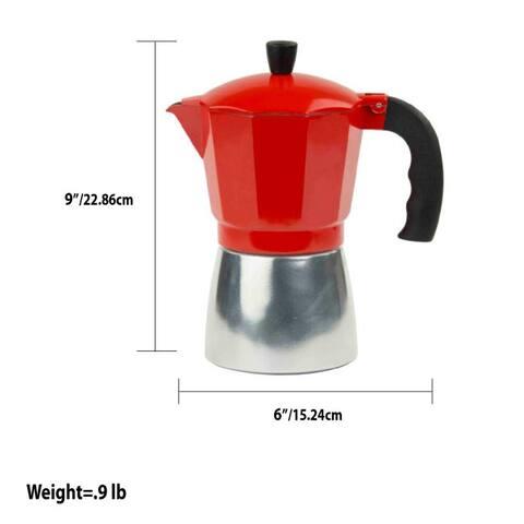 6 Cup Demitasse Shot Aluminum Stovetop Espresso Maker, Red