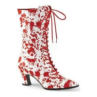 Funtasma Women's Victorian 120BL Mid Calf Boot White/Red Patent