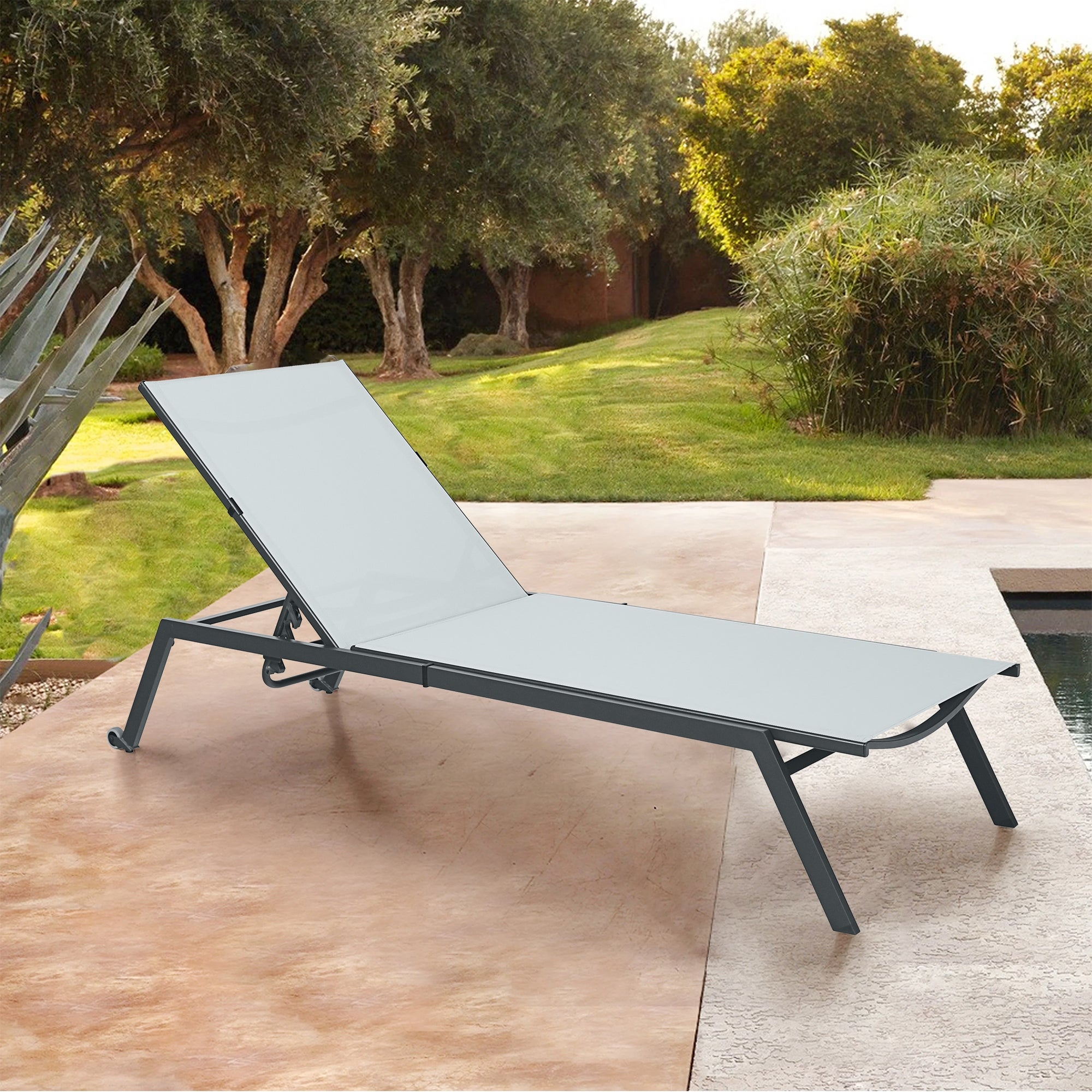 Shop Grey Outdoor Folding Chaise Lounge Chair On Sale Overstock 32033493