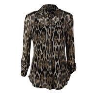 INC International Concepts Women's 2PC Mesh Button Shirt - oblong leopard