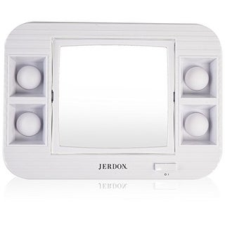 Jerdon LED Lighted Makeup Mirror, 5x Magnification, White Finish