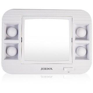 Jerdon LED Lighted Makeup Mirror, 5x Magnification, White Finish