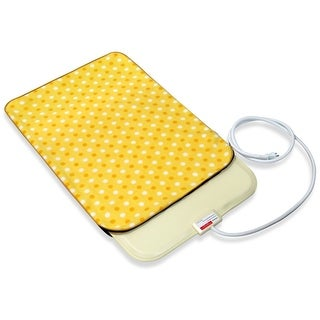 Fluffy Paws Yellow Dot Small Indoor Pet Bed Warmer Electric Heated Pad with Free Pad Cover (Dual Temperature & UL Certified)