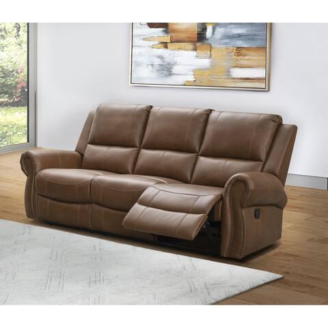 Abbyson Skyler Cognac Leather Reclining Sofa