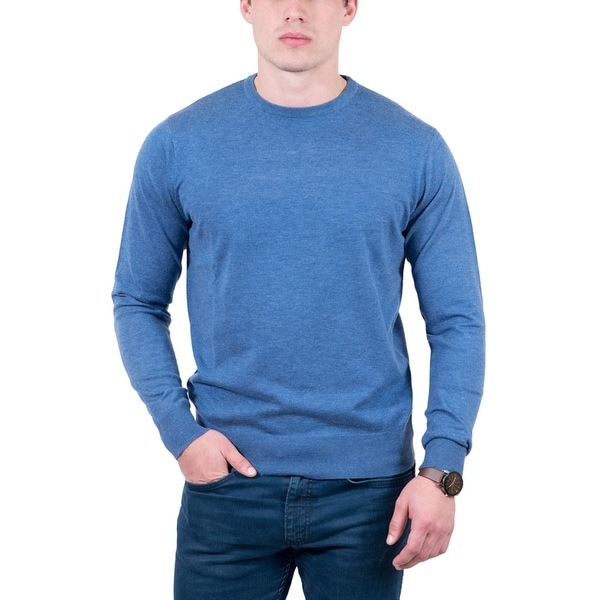 Real Cashmere Light Blue Crewneck Cashmere Blend Mens Sweater