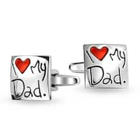 Bling Jewelry Stainless Steel Square I Love My Dad Cufflinks Red Heart