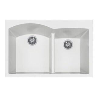"Houzer P-175 Quartztone 33"" Drop In Double Basin Granite Composite Kitchen Sink (Option: taupe)"