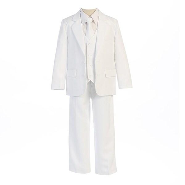 Sweet Kids Boys White Button Jacket Vest Shirt Vest Tie Pants Suit 8-20