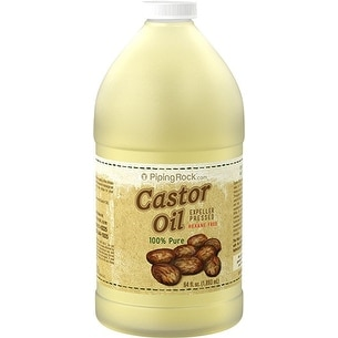 Piping Rock Castor Oil (Expeller Pressed) Hexane Free 100% Pure Virgin 64 fl. oz. (1893 ml) - YELLOW - 6 x 3 x 3