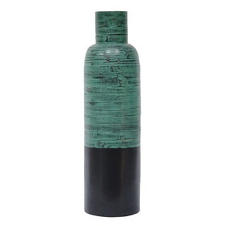 36 Spun Bamboo Bottle Vase - Bamboo In Distressed Blue & Matte Black