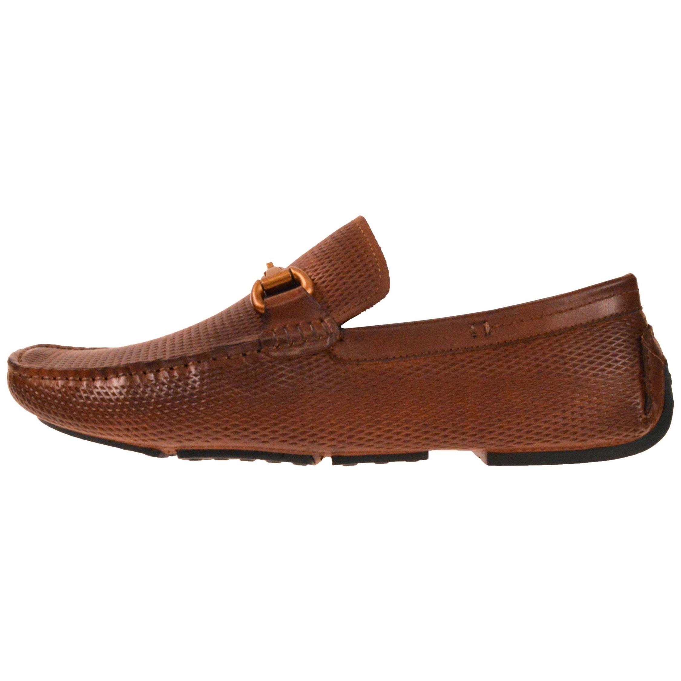 Asher Green Mens Cognac Genuine Leather Driving Shoe w//Diamond Emboss:AG8694-215