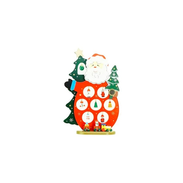 """10.25"""" Wooden Santa Claus Cut-Out with Miniature Ornaments Christmas Table Top Decoration - RED"""