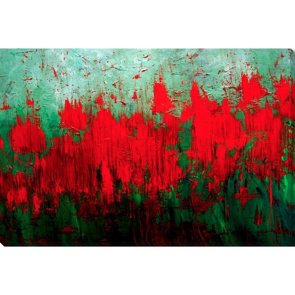 """Red and Green Printed Rectangular Canvas Wall Art Decor 27"""" x 40"""" - N/A"""