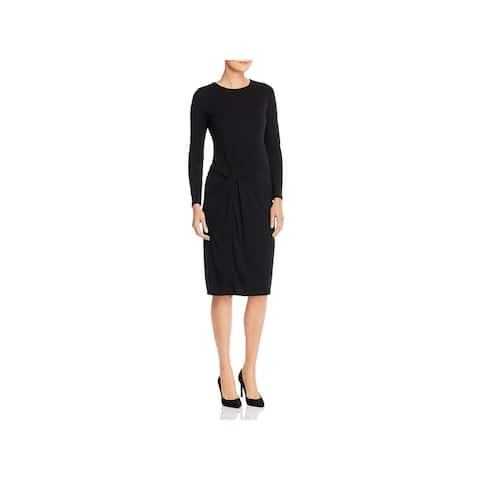 DONNA KARAN Black Dolman Sleeve Knee Length Dress 0