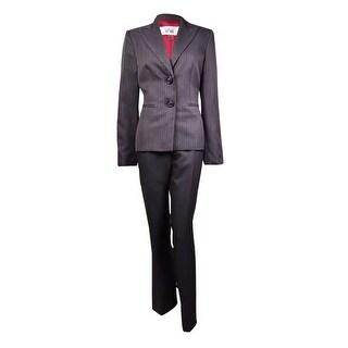 Le Suit Women's Prague Shadow Striped Peaked Pant Suit - charcoal multi