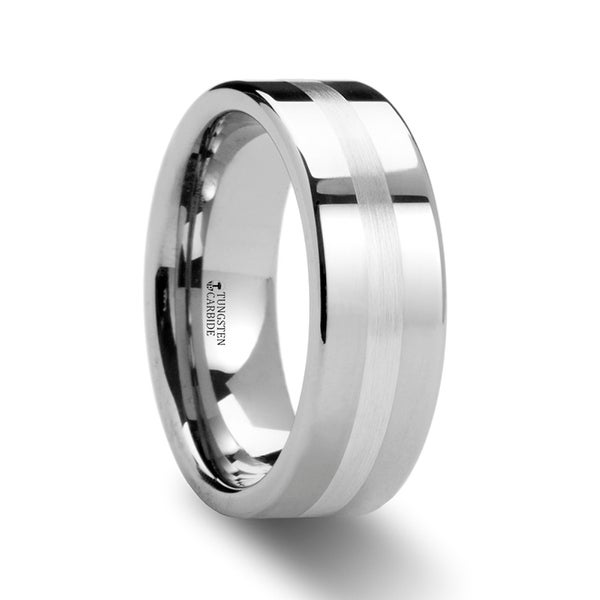 THORSTEN - GEMINI Pipe Cut Tungsten Carbide Ring with Silver Inlaid - 6mm