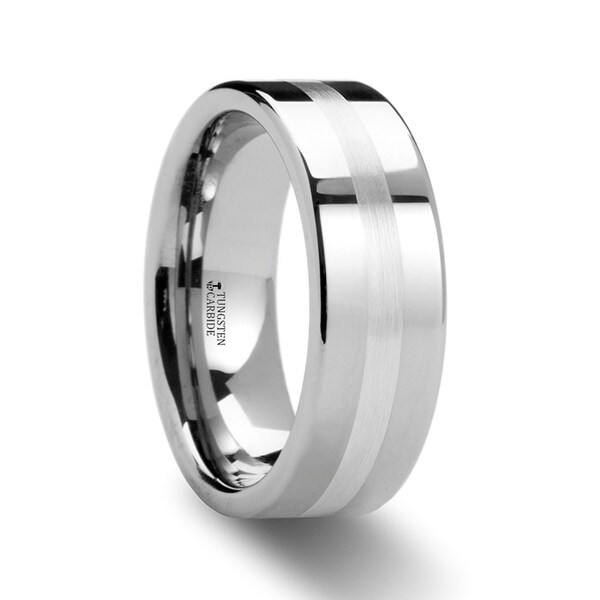 Gemini Pipe Cut Tungsten Carbide Ring With Silver Inlaid