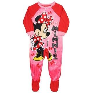 Disney Minnie Mouse Fleece Footed Blanket Pajama Sleeper Little Girls