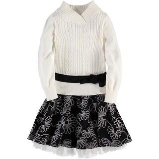 Bonnie Jean Girls 7-16 Cable Skirt Knit Dress - Black/White