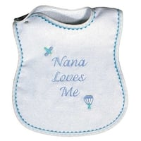 "Raindrops Baby Boys ""Nana Loves Me"" Embroidered Bib, Blue - One size"