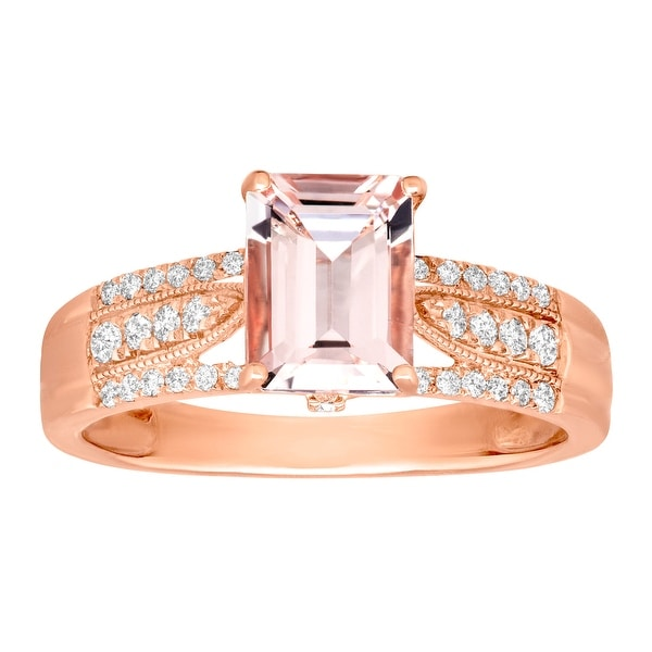 1 1/2 ct Morganite & 1/4 ct Diamond Ring in 14K Rose Gold - Pink
