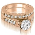 1.30 cttw. 14K Rose Gold Antique Cathedral Round Cut Diamond Bridal Set - Thumbnail 0