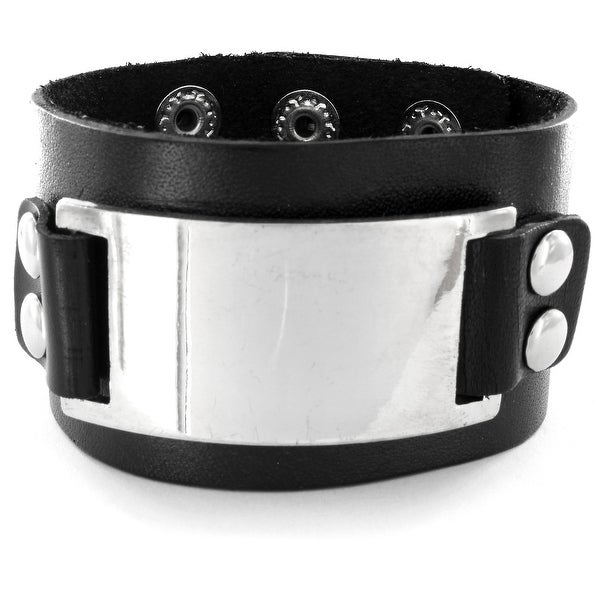 Black Leather Buckle Plate Bracelet with Adjustable Snap Closure (40 mm) - 7 in