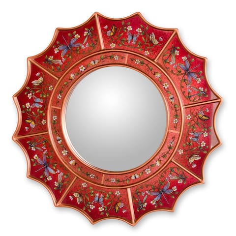 NOVICA Red Summer Radiance Reverse Painted Glass Mirror