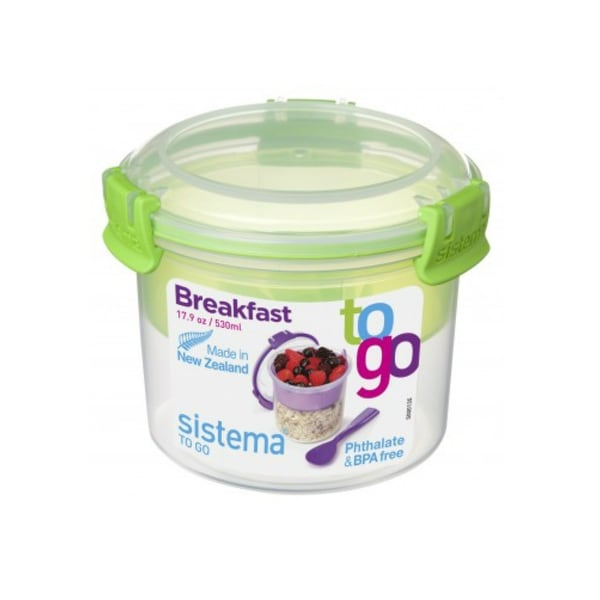 Sistema 21355 Klip It Breakfast To Go Container, 2.2 Cup, Assorted Colors