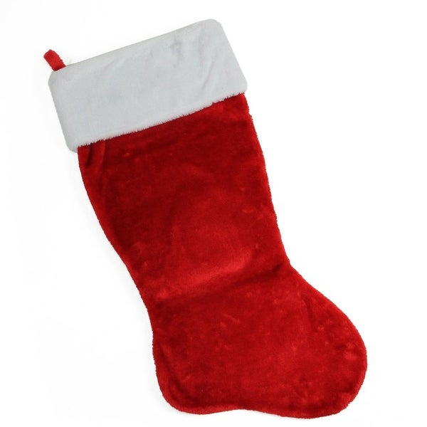 "35"" Traditional Red with White Cuff Decorative Plush Christmas Stocking"