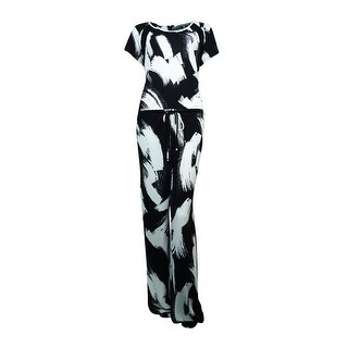 NY Collection Women's Lace Side Trim Printed Jumpsuit