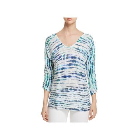 Nic + Zoe Womens High Point T-Shirt Linen Blend Printed