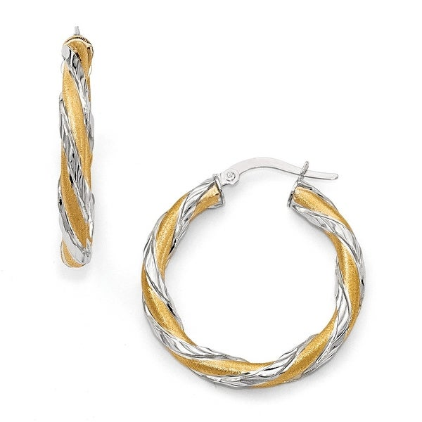 Italian 14k Yellow Gold with White Rhodium Twisted Hoop Earrings