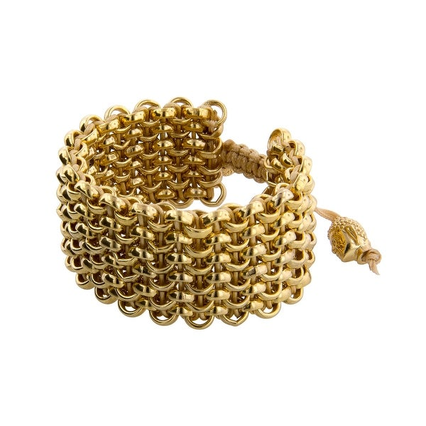 Links Women's Yellow Six Row Bracelet in 14K Gold Plate