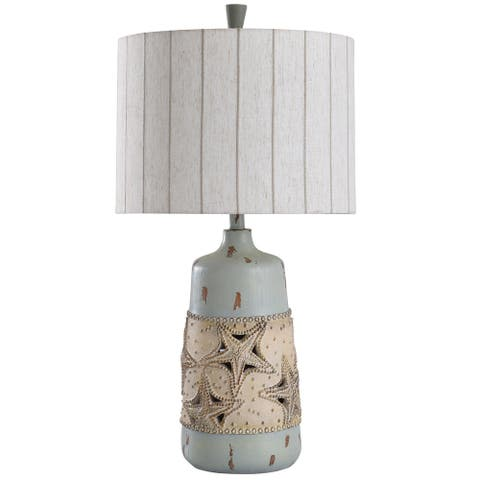 StyleCraft Staybridge Blue and Cream Rounded Starfish Band with Cutout Details Table Lamp - Vertical Stitched Striped Drum Shade
