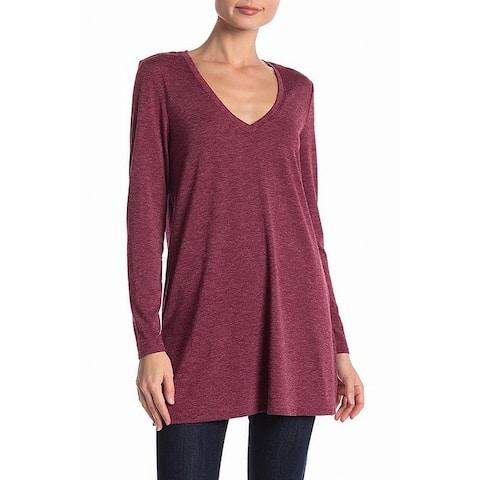 JOE FRESH Women's Long Sleeve V-Neck Burgundy Medium Knit Top
