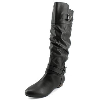 Material Girl Cresta Women Round Toe Synthetic Black Knee High Boot