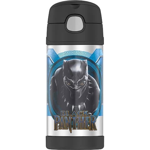 Thermos FUNtainer Bottle, Black Panther, Black, 12 Ounces