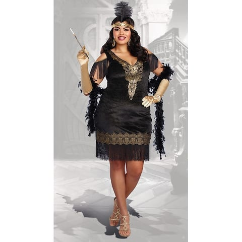 Plus Size Swanky Flapper Costume - As Shown