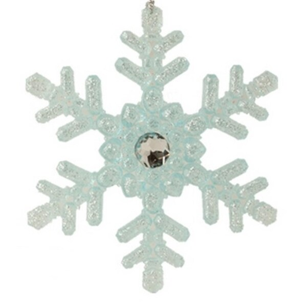 """5.25"""" Ice Palace Elegant Frosted Blue Glittered Snowflake Christmas Ornament"""