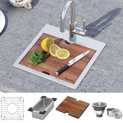 """Ruvati 15 x 15 inch Workstation Drop-in Topmount Bar Prep RV Sink 16 Gauge Stainless Steel - RVH8215 - 15"""" x 15"""""""