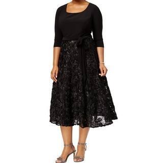 a03c4496717f0 Alex Evenings Black Women s Size 14W Plus Soutache Sheath Dress
